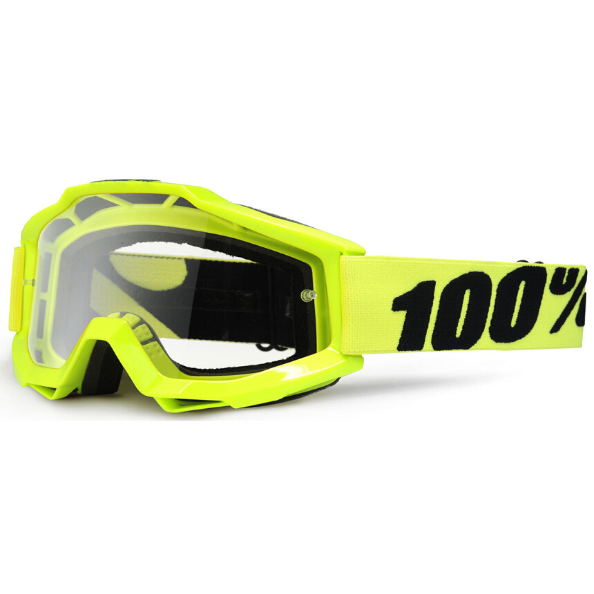 100% Accuri Fluo Yellow Anti-Fog Clear Lens gogle