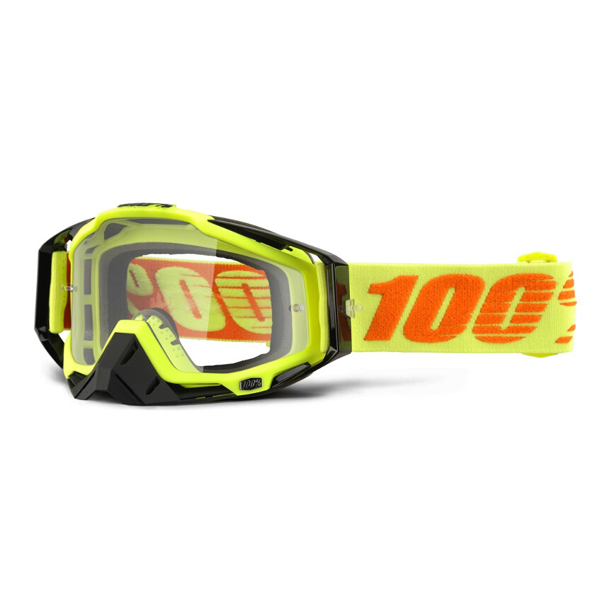 100% Racecraft Attack Yellow Anti-Fog Clear Lens gogle