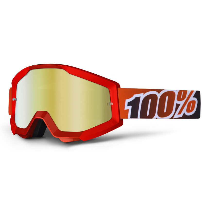 100% Strata Fire Red Anti-Fog Mirror Lens Gold gogle