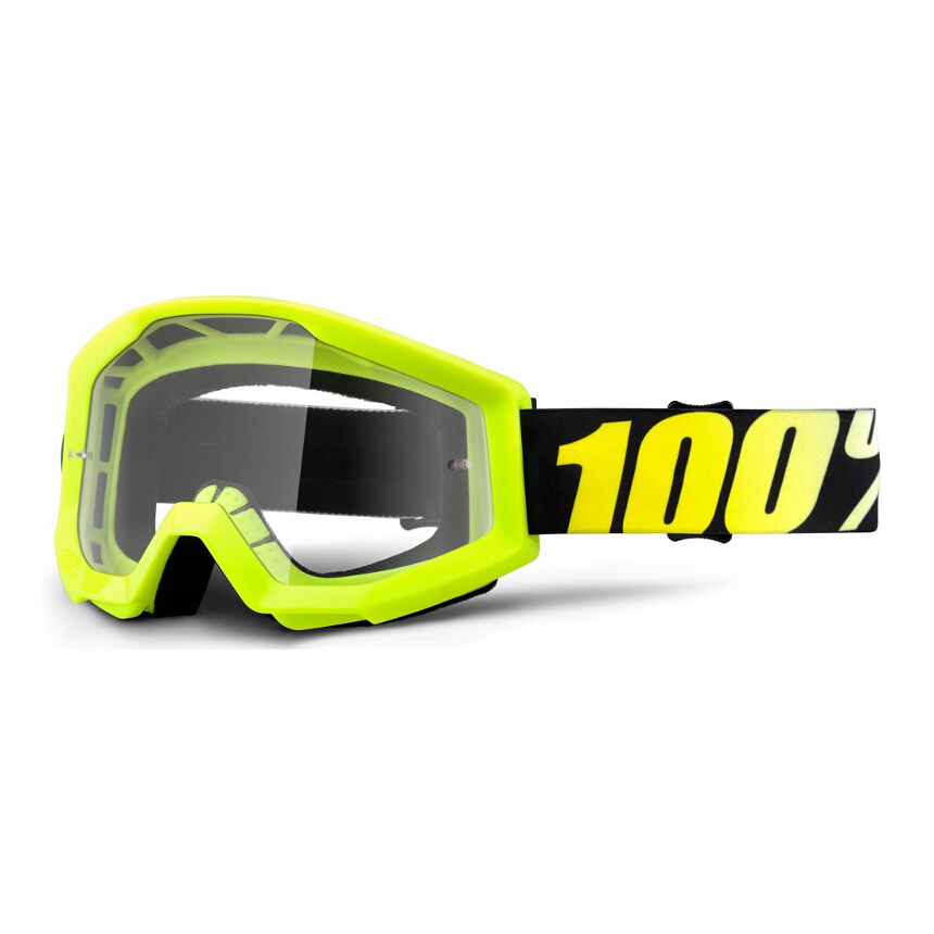 100% Strata Neon Yellow Anti-Fog Clear Lens gogle