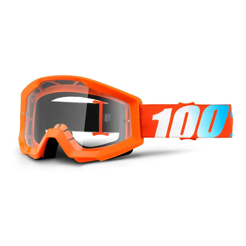 100% Strata Youth Orange Anti Fog Clear Lens gogle młodzieżowe